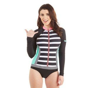 Hobie Front Zip Black Stripe One Piece Swimsuit M